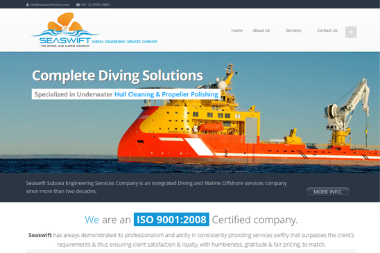 Diving & marine company website image