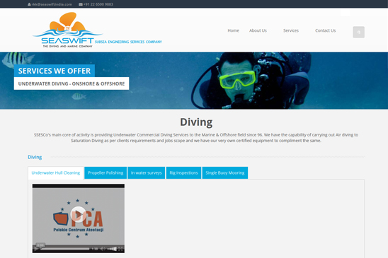 Diving & marine company website image 2